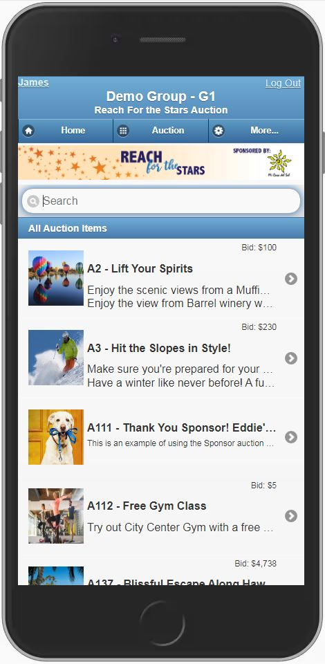 Auction Catalog from a mobile device