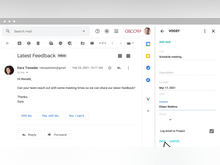 VOGSY Software - Work tasks inside Gmail: The VOGSY Gmail Add-on lets you log an email in VOGSY and immediately create a task, straight from your inbox. New tasks come to your inbox as well and you can take action in the email.