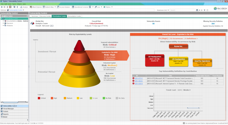 Vulnerability Control's Prioritization Center dashboard showing an overview of risk by exploitability level (left) and a detailed view of sites containing vulnerabilities exploited in the wild (right)