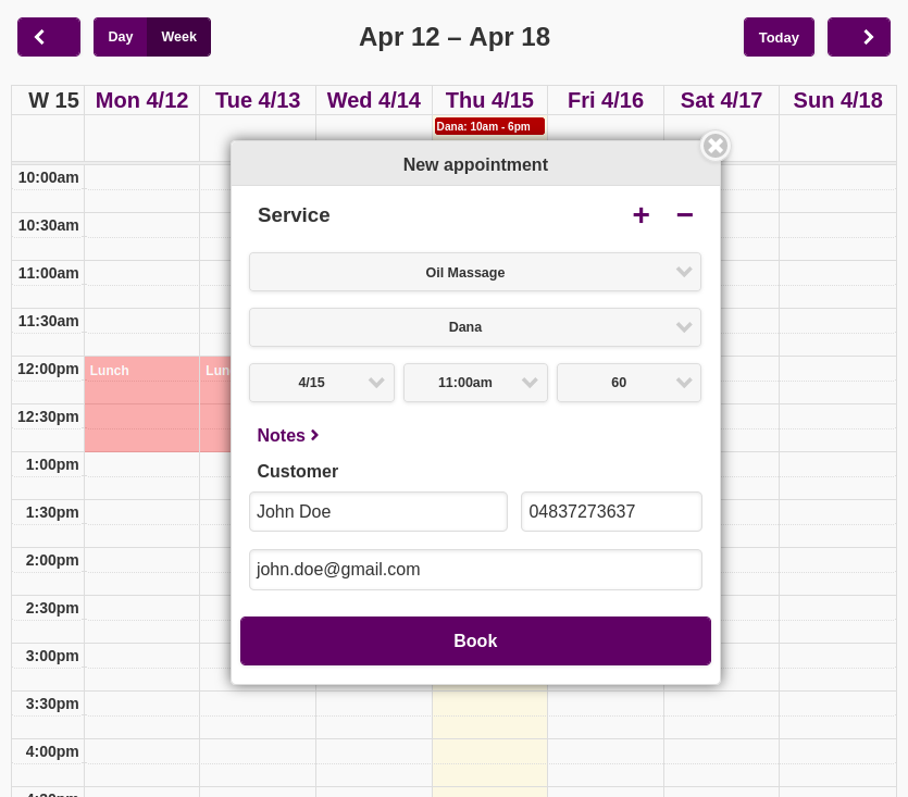 The appointment popup window. When a staff member begins to add a new appointment, the system makes intellligent guesses and pre-selects the values to make the process as simple and painless as possible.