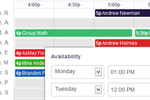 Teachworks screenshot: Teacher availability is indicated on the scheduling calendar in order to identify sessions or class openings faster