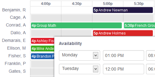 Teacher availability is indicated on the scheduling calendar in order to identify sessions or class openings faster