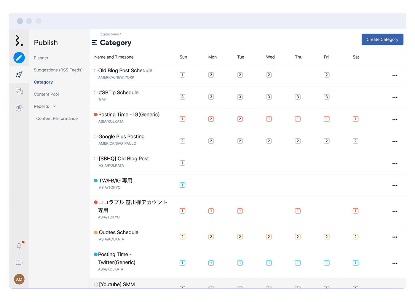 Statusbrew Software - Statusbrew planner