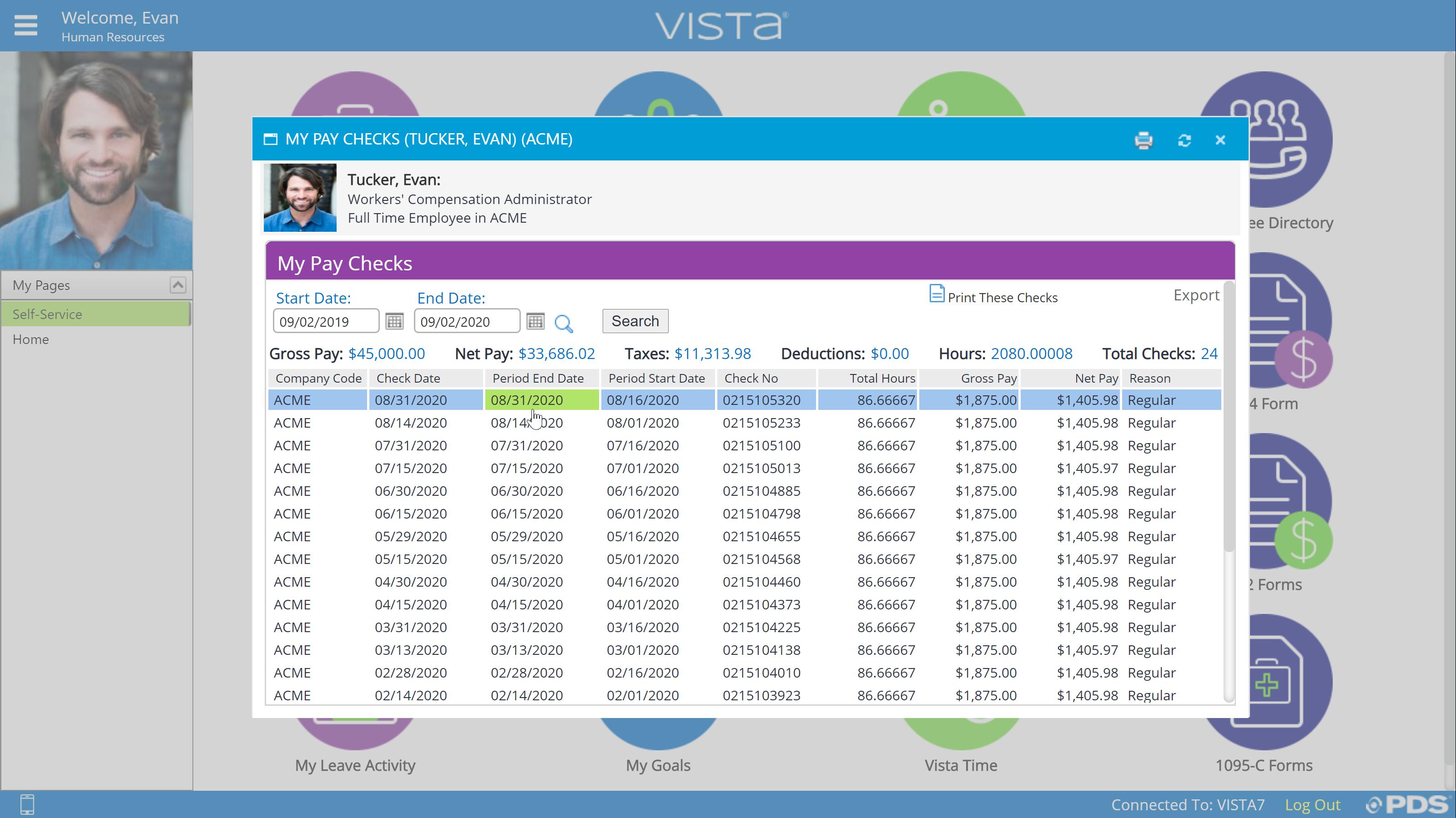 Vista Software - PDS ESS Paystub