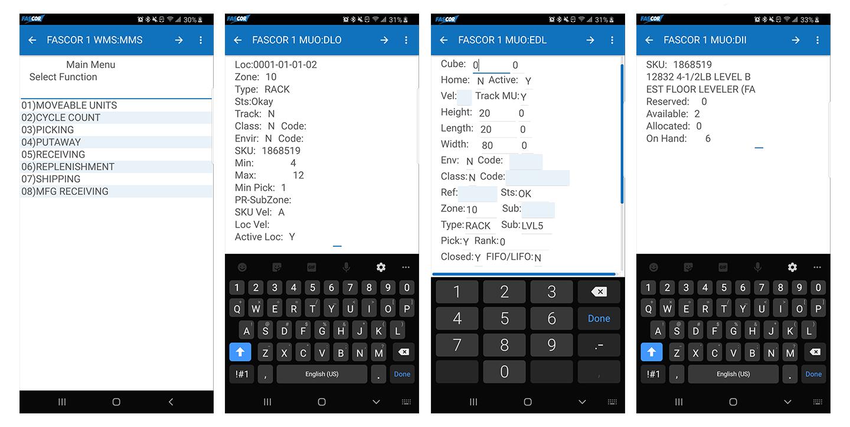 FASCOR RF Android Screens