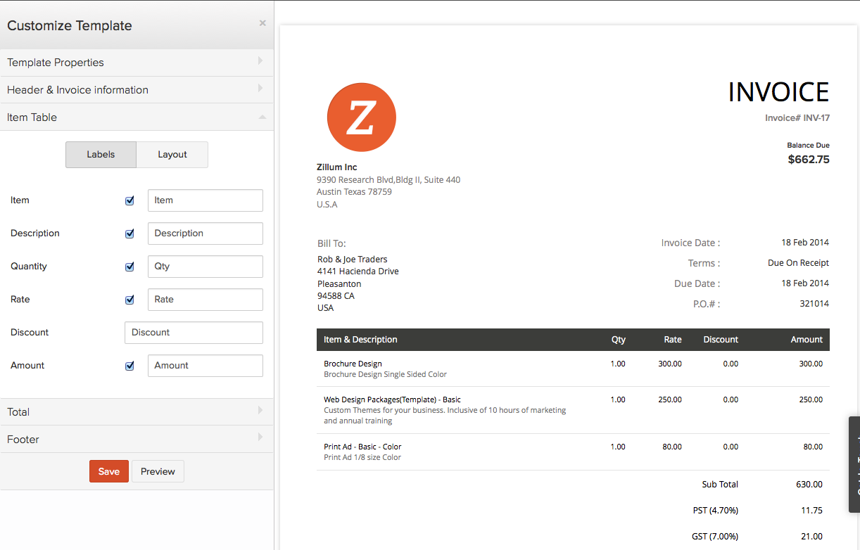 Zoho Invoice - Customize Template
