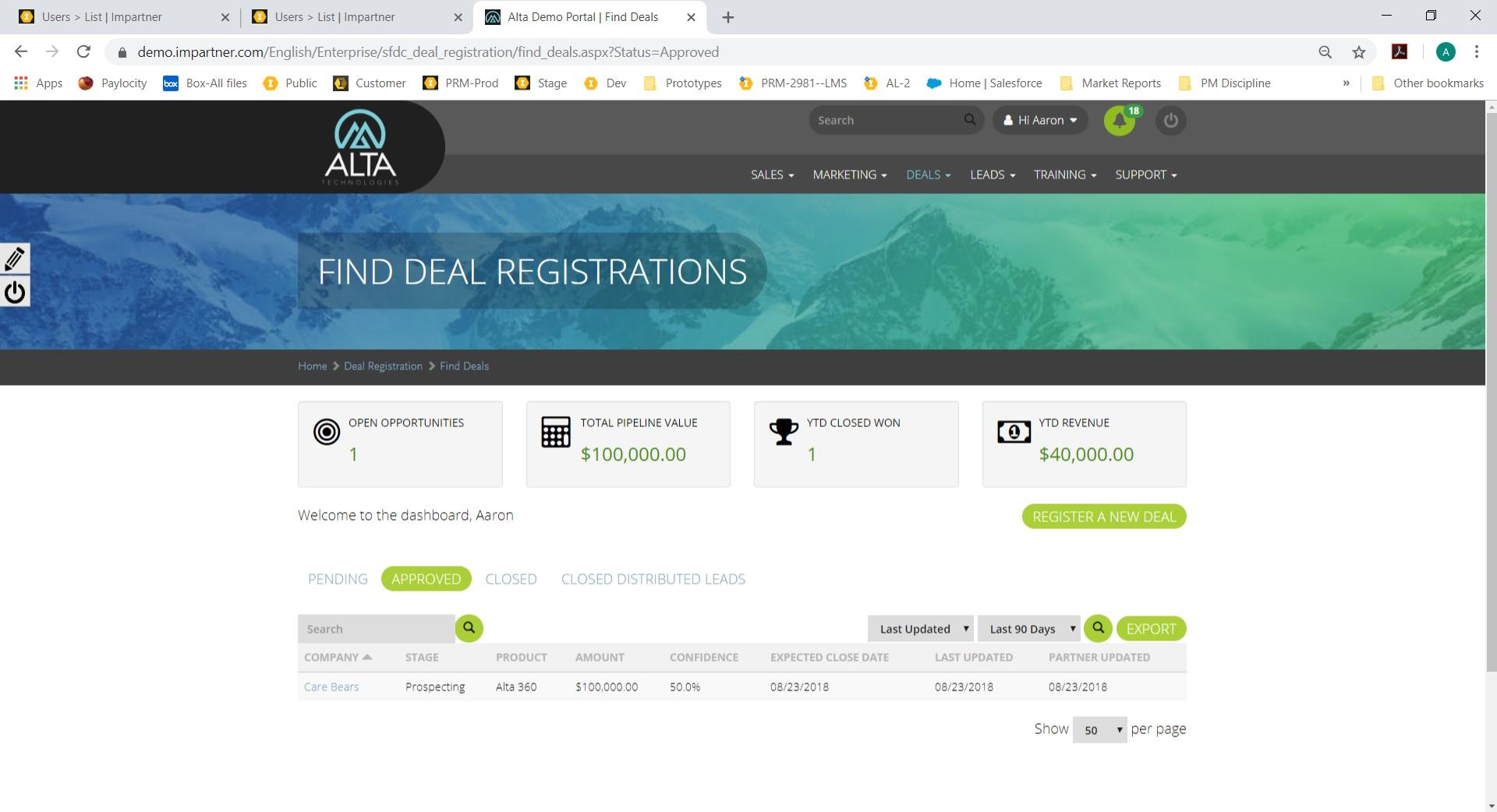 Impartner PRM deal registrations screenshot