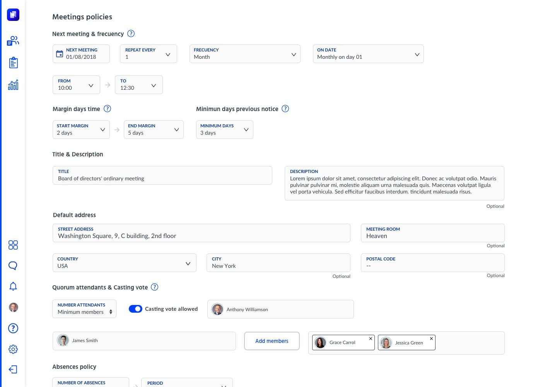 Hetikus Software - Boards & Committees meeting policies screenshot