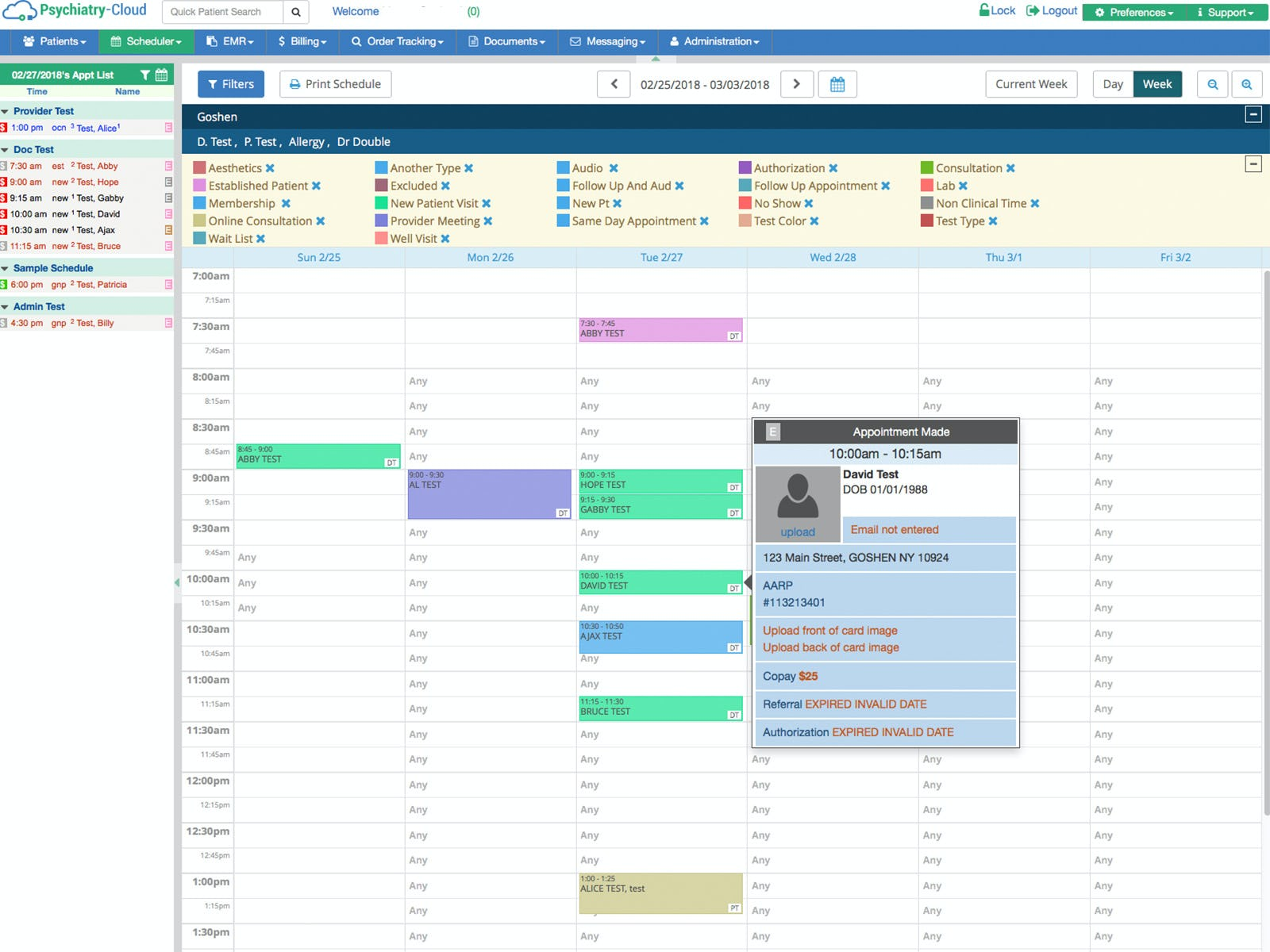 Psychiatry-Cloud Software - Appointment scheduler