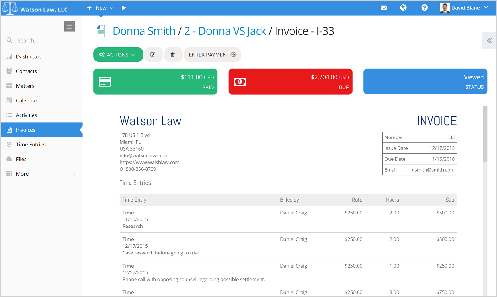 PracticePanther Legal Software Software - PracticePanther invoice