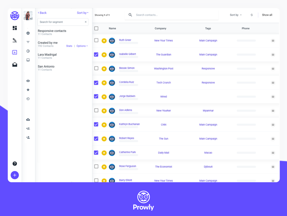 Prowly Software - Manage media lists