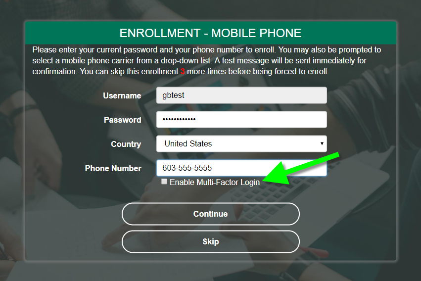 PortalGuard Phone Number Enrollment - Two-Factor Authentication (2FA) Opt-in