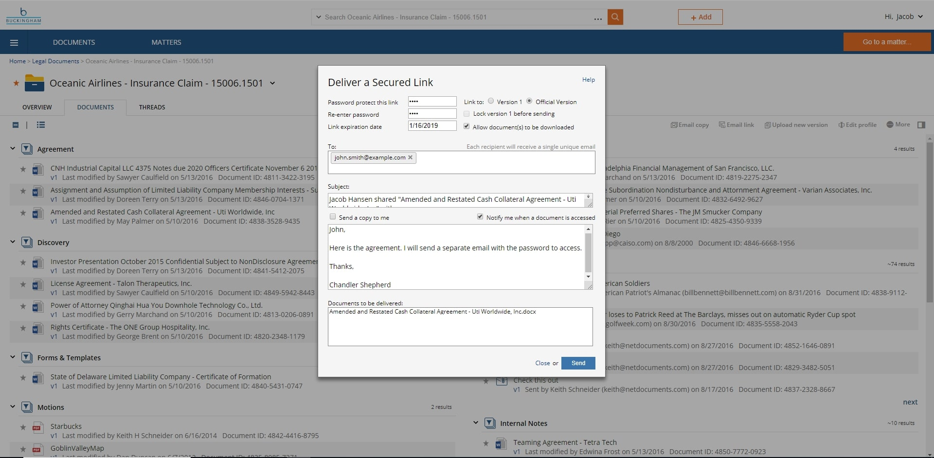 NetDocuments, we provide an alternative to emailing client material back and forth by using our secured links. This is one of many examples of how to securely send a document using our platform: