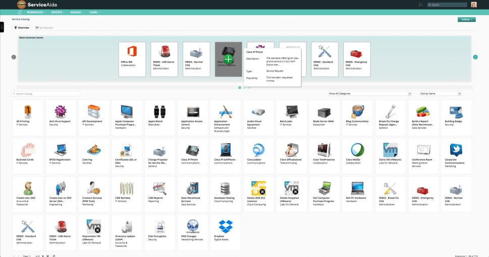 Intelligent Service Management Software - Catalog overview