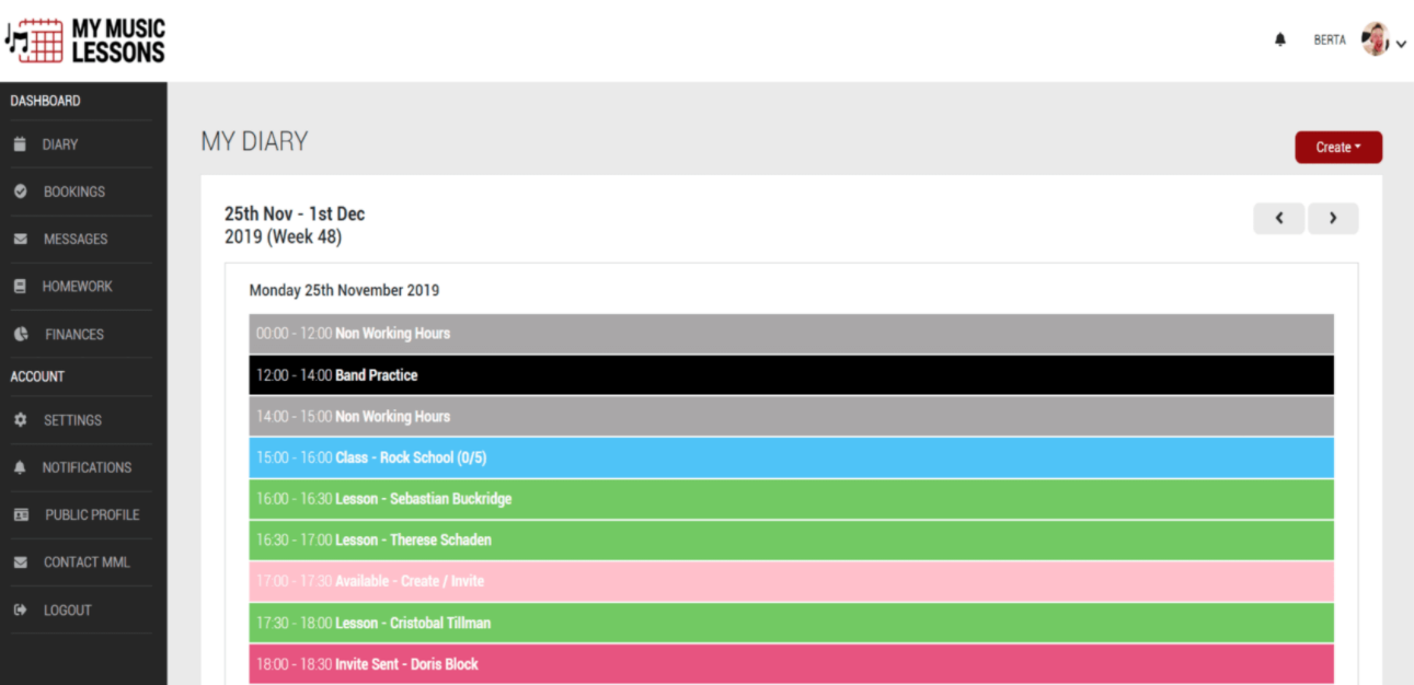 My Music Lessons diary dashboard