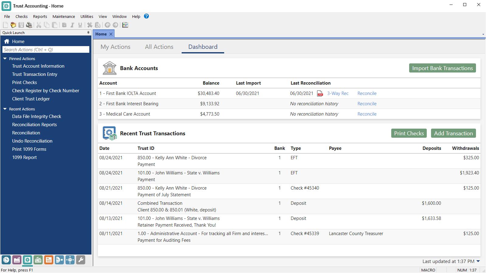 Tabs3 Financials Trust Accounting Dashboard