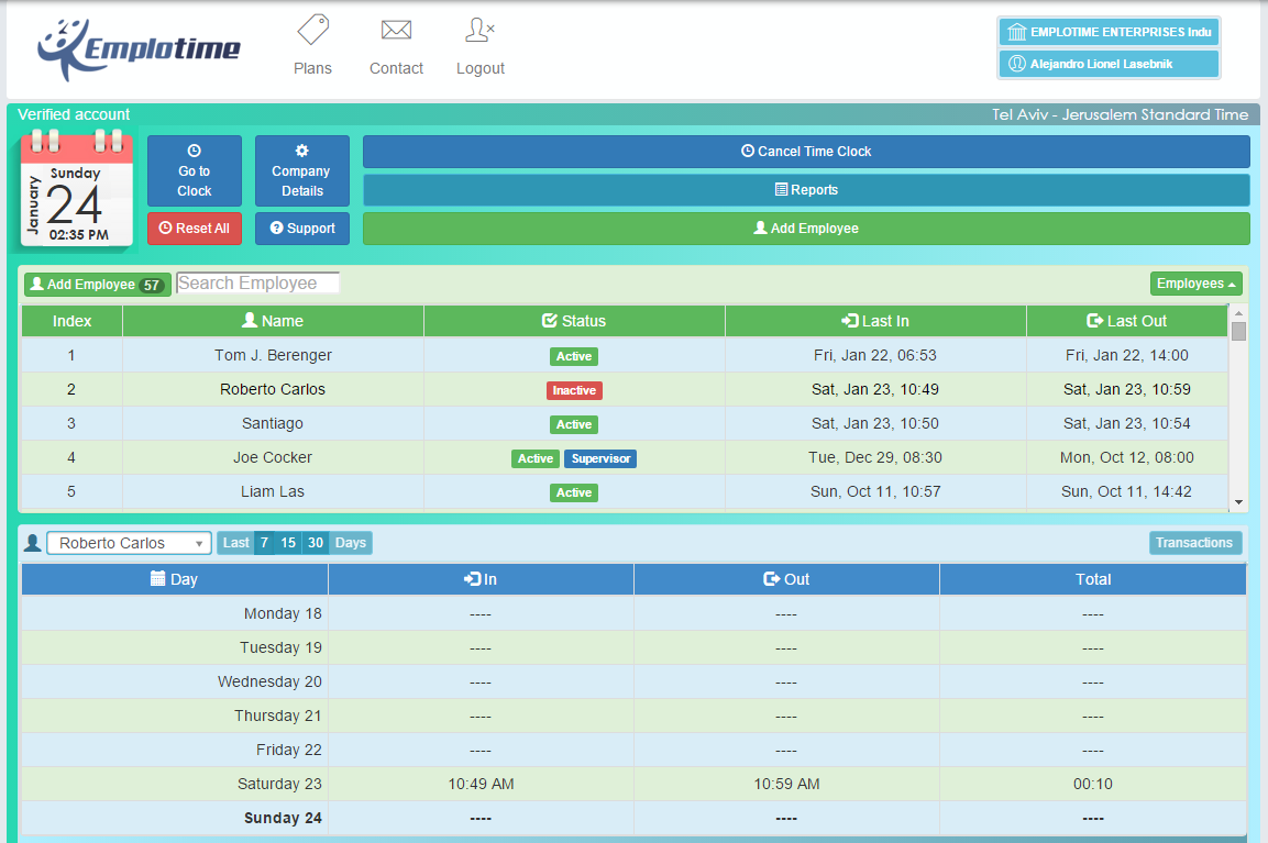 Emplotime can be used to track employee hours, attendance, and paid or unpaid time off