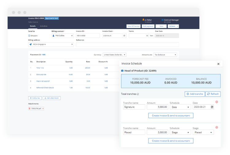 Invoicing: Sales invoices, Purchase invoices, Credit notes, Retainers & retainer invoices scheduler