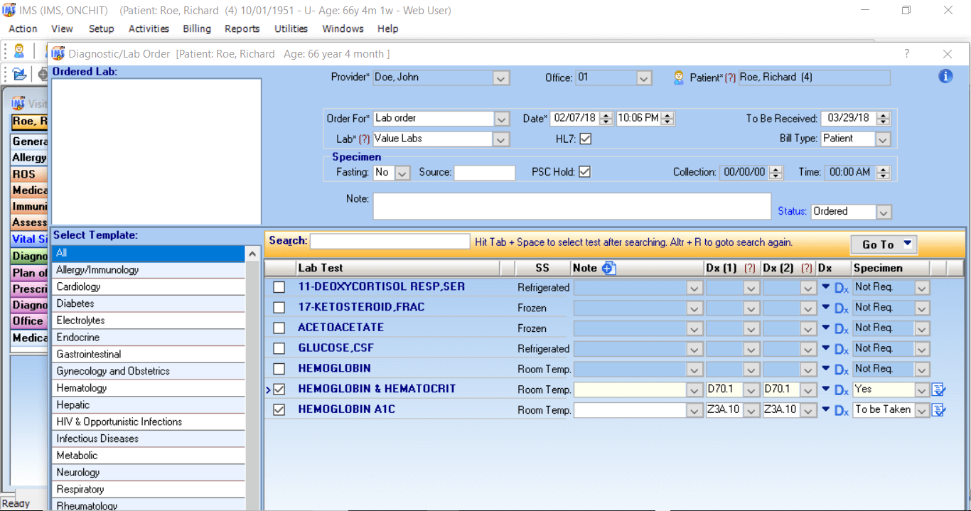 Intelligent Medical Software diagnostic/lab orders