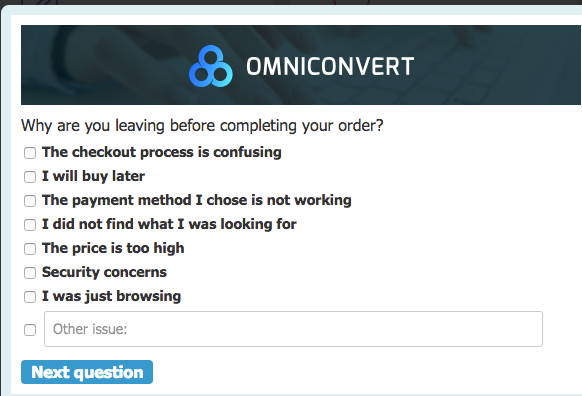 Preview an example of a cart abandonment survey