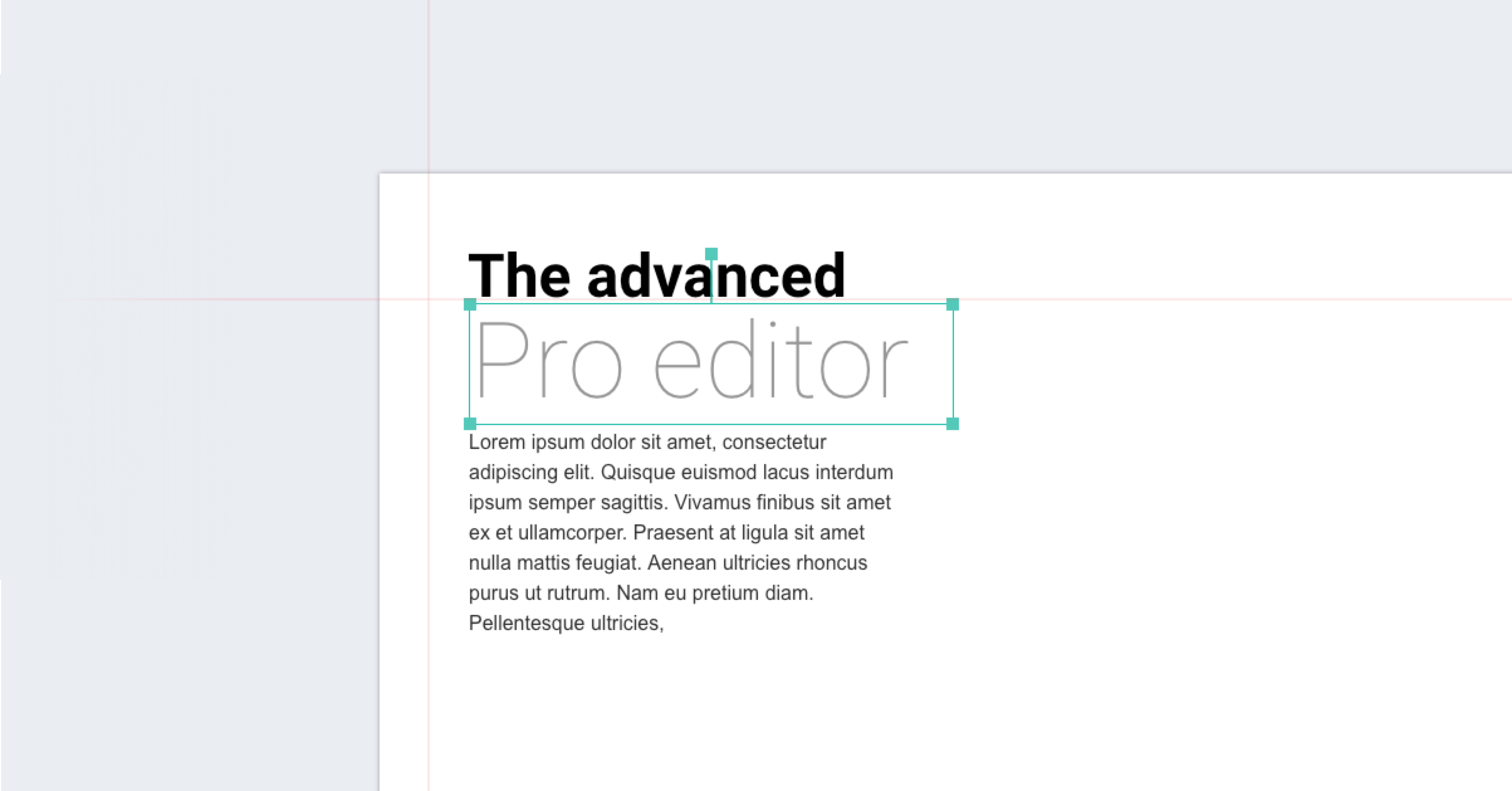 All elements can be freely positioned on the page using the Pro editor