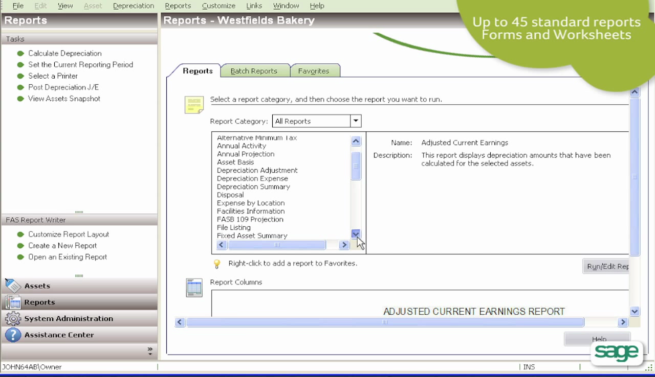 Users can generate custom reports for assets using the software