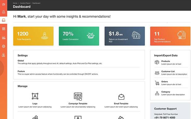 ewiz commerce reporting dashboard