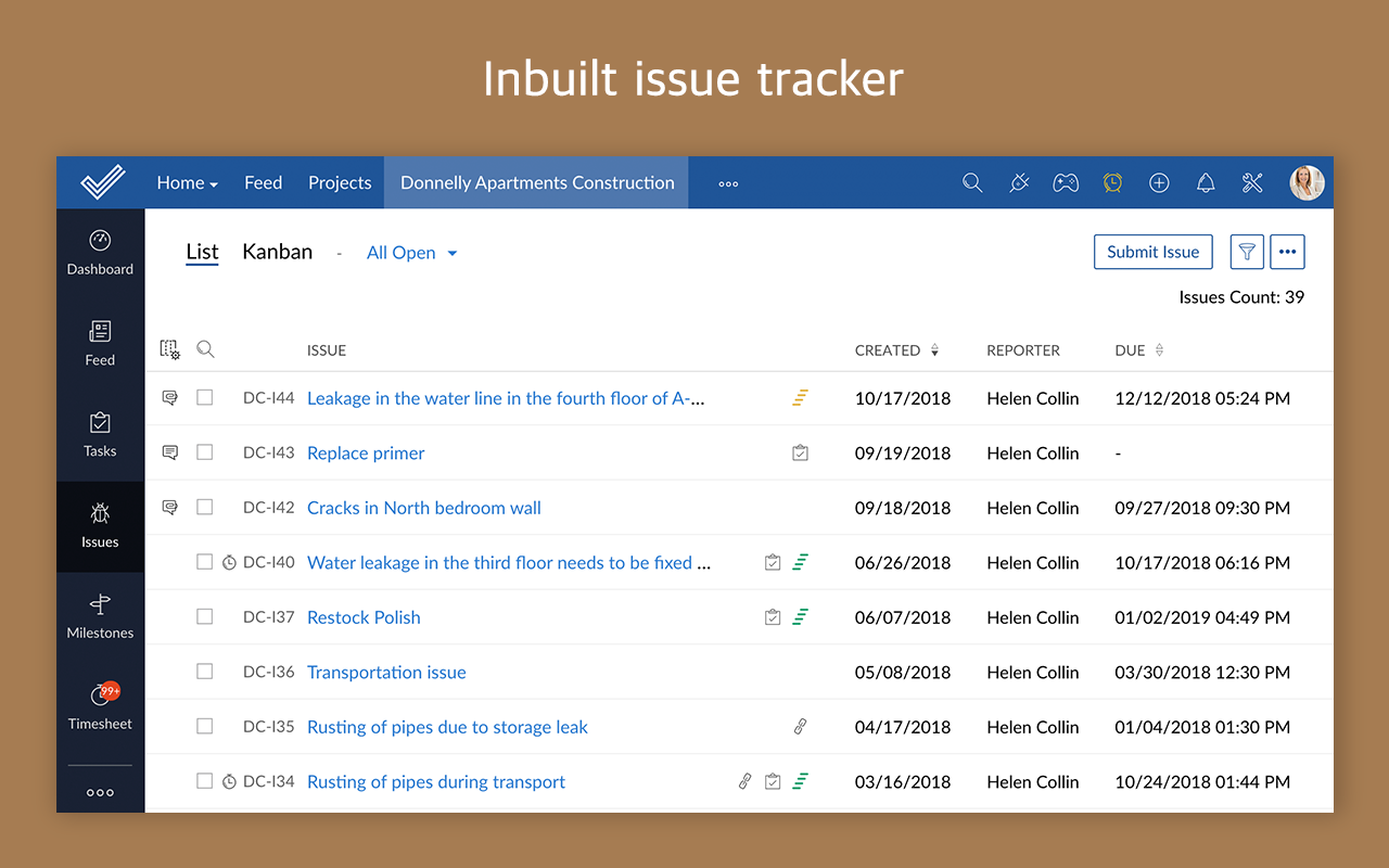 Zoho Projects issue list screenshot