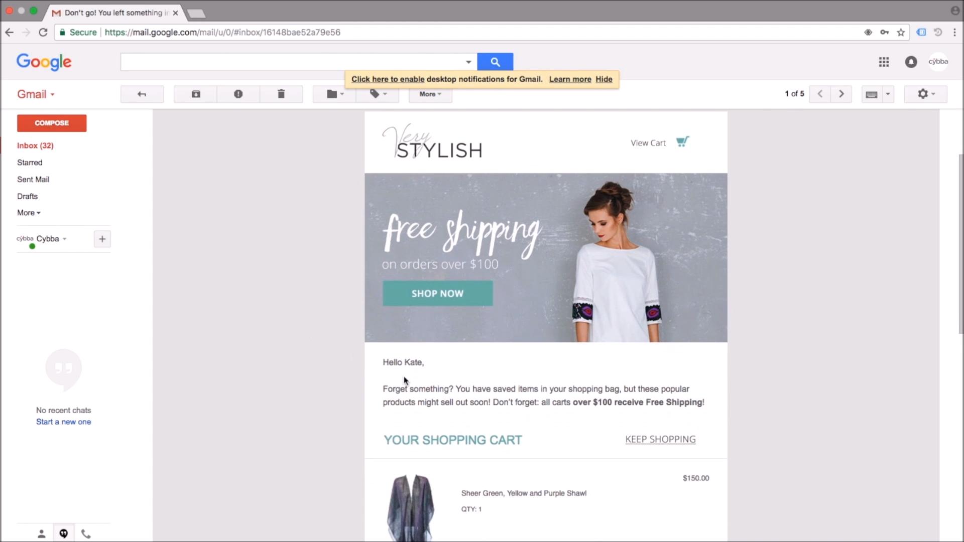 Cybba Email Remarketing email marketing screenshot