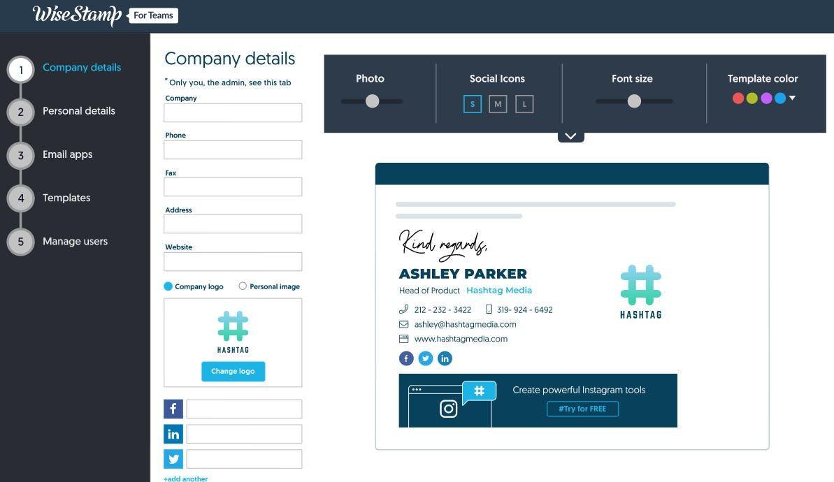 WiseStamp Software - WiseStamp add company details