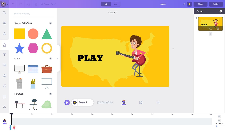 Animaker Software - Animaker adding shapes