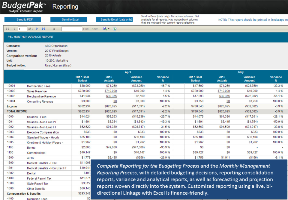 Complete Reporting for Budgeting and Monthly Management Reporting. Built-in reports on detailed budgeting decisions, consolidation, variance & analytics, as well as forecasting & projections. In addition, custom reporting with bi-directional Excel linkage