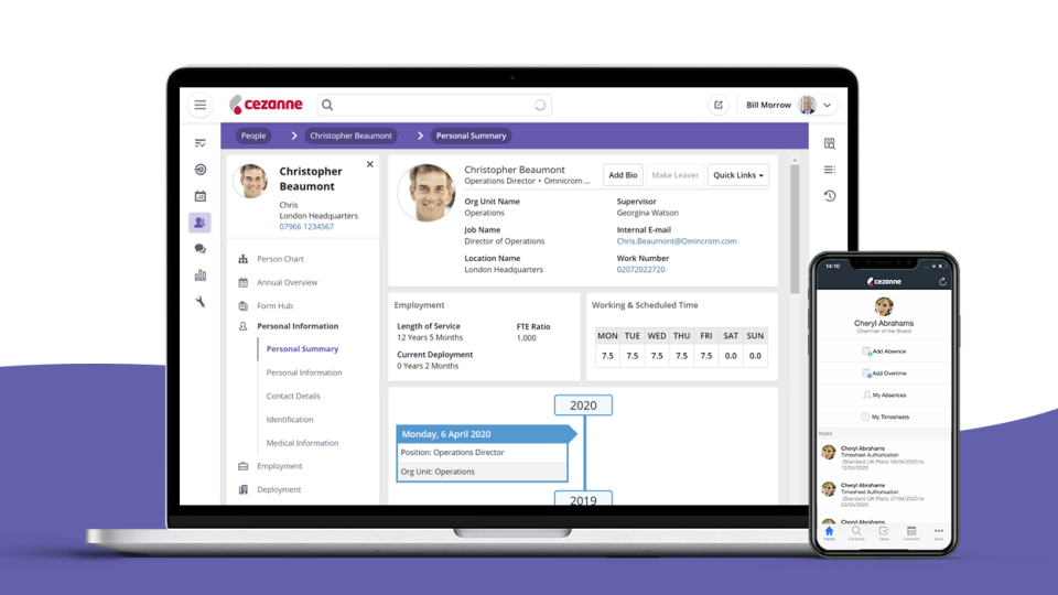 Comprehensive core HR with  employee profiles, configurable forms, embedded HR portals, approval workflows, secure self-services, reporting and much more