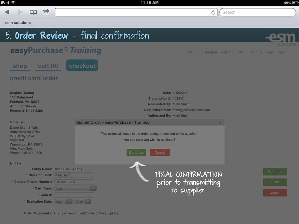 ESM Purchase Software - Order review