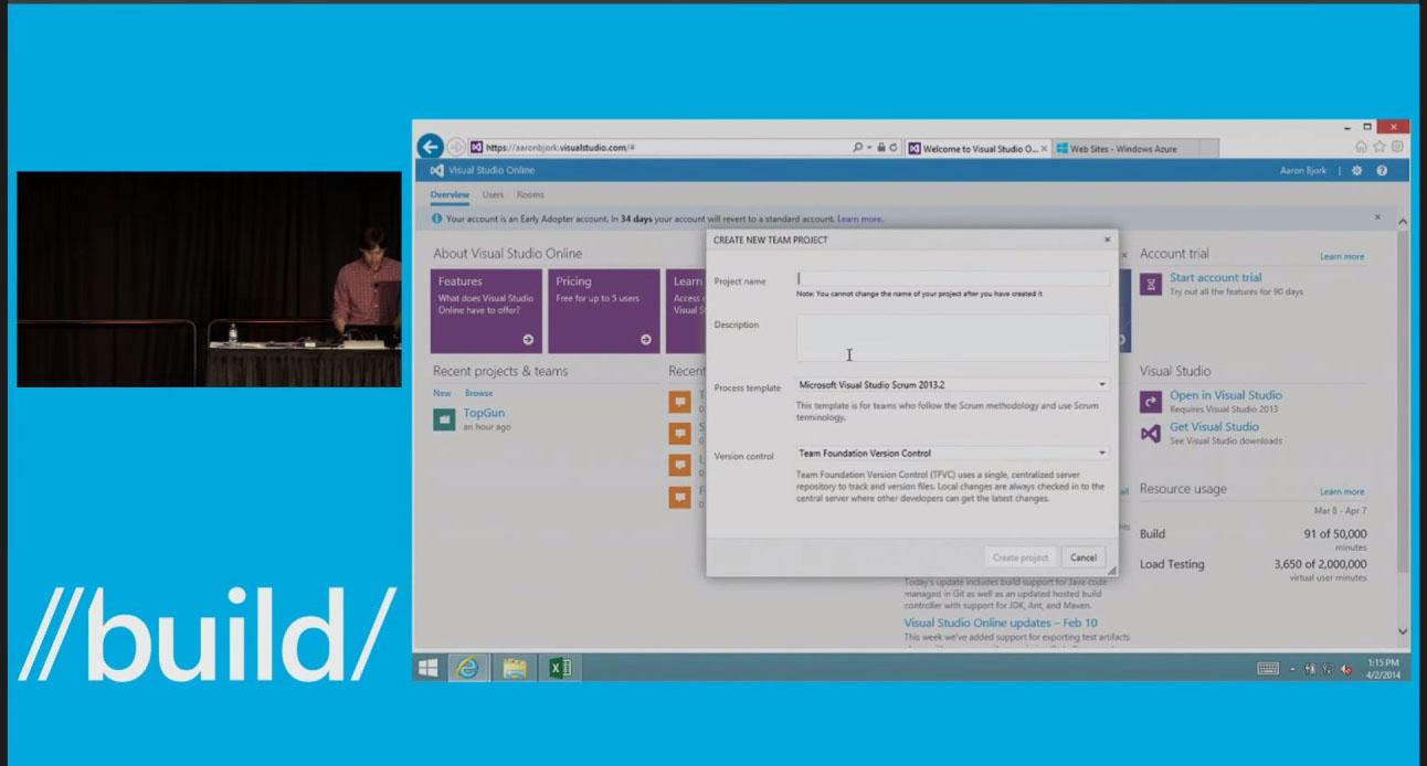 Microsoft Visual Studio Online Create Project