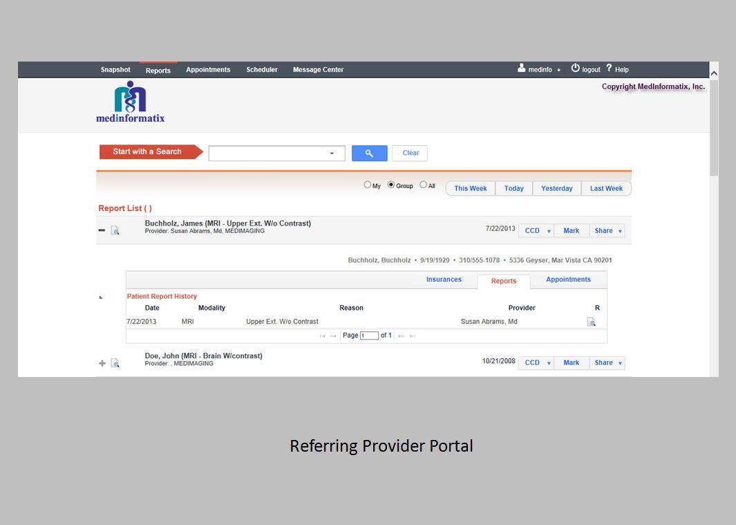 MedInformatix Software - Referring provider portal