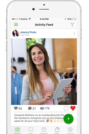 Messages, images, videos, and files can be posted to the activity feed