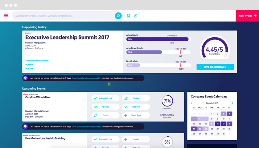 Stay on top of every aspect of your event with customizable dashboards