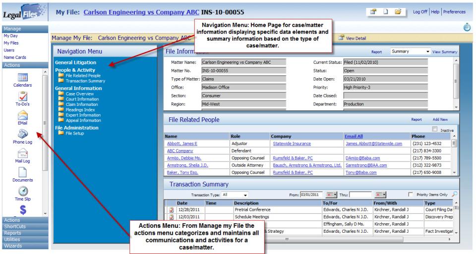 Legal Files navigation menu