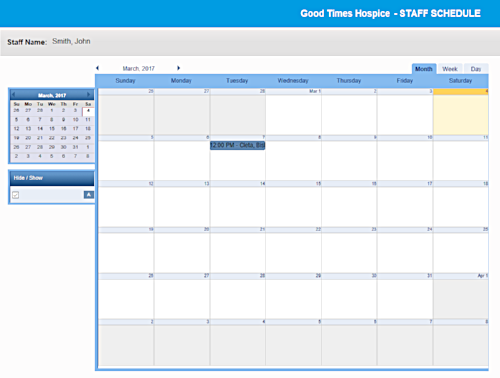 Staff schedules can be viewed in the calendar