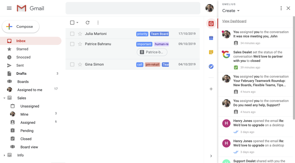 Gmelius Software - Manage group emails