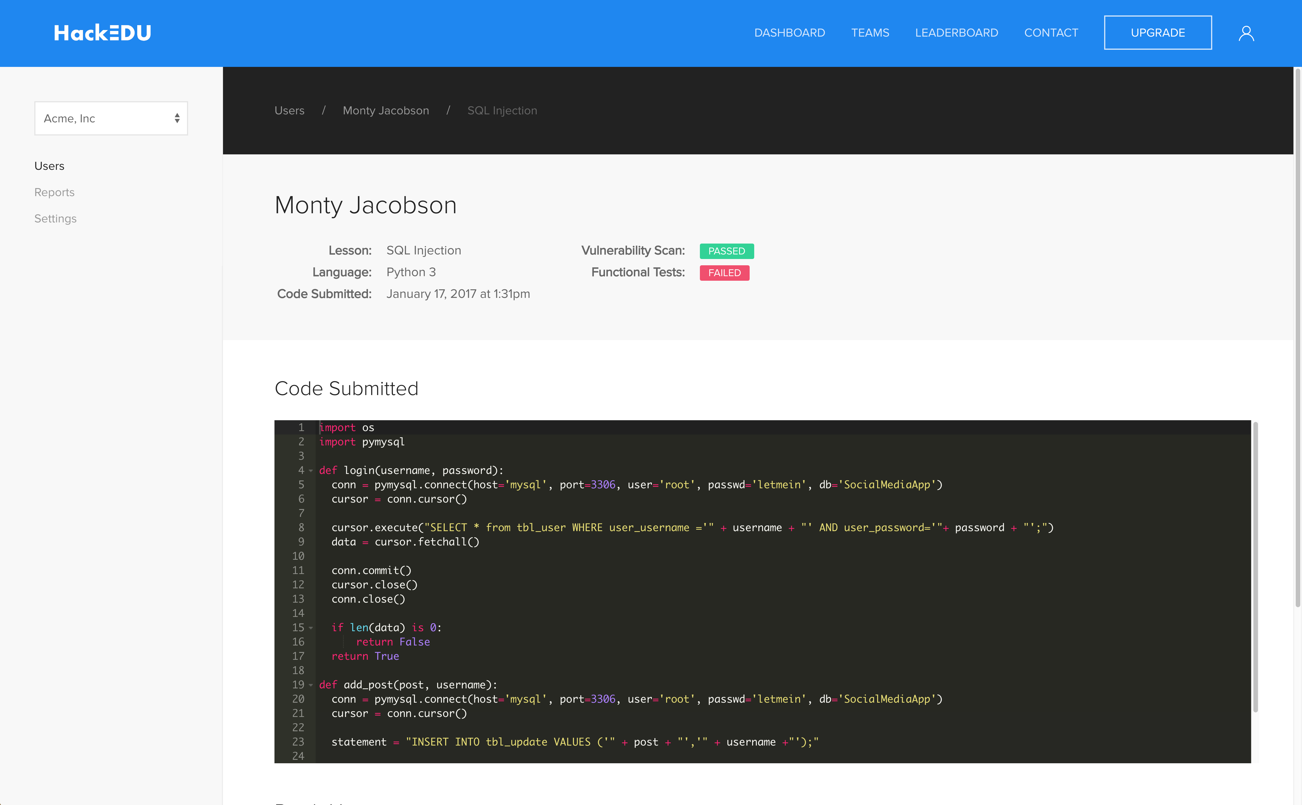 HackEDU code evaluation