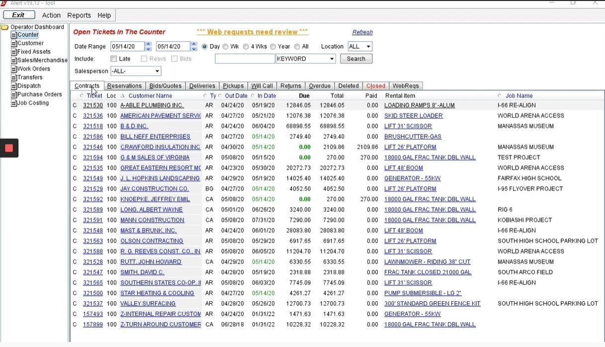 Alert Software - Alert Rental contracts management